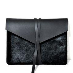 MacBook Air 11 cuero negro caja/funda por LeatherStory en Etsy
