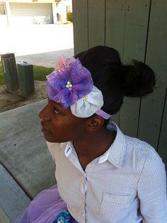 Headband Vintage Purple organza cluster fabric flower on Etsy, $14.00