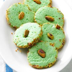 Pistachio Cream Cheese Cookies Recipe -My son-in-law is a big fan of pistachios. He looks forward to these buttery cookies at holiday time, but I make them for him more than just once a year. —Lily Julow, Lawrenceville, Georgia Buttery Cookies, No Bake Cookies, Brownie Cookies, Cupcake Cookies, Brownie Desserts, Mini Desserts, Oreo Dessert, Coconut Dessert, Pistachio Dessert