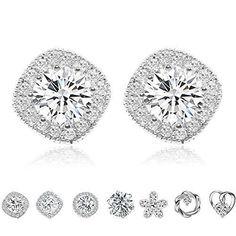 Halo Diamond Women Earrings, Cat Eye Jewels S925 Sterling Silver Halo Aaa Cub...