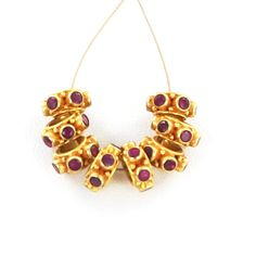 18K GOLD  RUBY STUDDED BEAD 8.5mm 6 STONE 1 PIECE from New World Gems