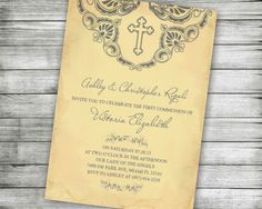 47 best catholic and christian invitations images on pinterest first communion baptism invitation yellow christening printable holy invite confirmation religious catholic christian cross grey stopboris Image collections