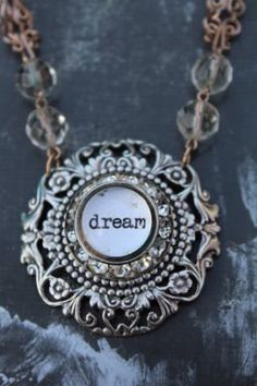 DREAM Necklace with Vintage Chain on Etsy, $40.00