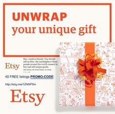 Etsy 40 free listings code promotion. Open your shop with no fee for goods' listing: http://etsy.me/1QaSZpZ