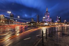 Warsaw`s evening by : Curtis Budden Photography Home And Away, Cn Tower, Night, Building, Warsaw Poland, Cityscapes, Photography, Travel, Sweet