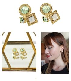 """Fashion golden rim crystal green earrings"" by oceanfashion on Polyvore"