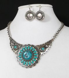 Cowgirl Bling Western Concho Rhinestones Faux TURQUOISE Native necklace set #mystyle