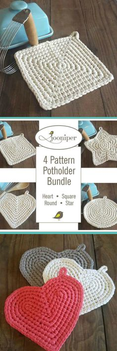 Crochet pattern for set of 4 pot holders. These would be a great beginner project. #diy #madewithlove #afflink #handmade