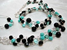 Black and Turquoise Beaded Necklace Set handmade by HettyMarie