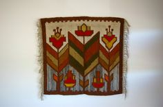 Large Polish Kilim Folk Tapestry or Wall Hanging of by bitofbutter, $75.00