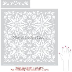 Allover Faux Tiles Design Painted on Walls and Floors - Marisol Damask Tile Stencils - Royal Design Studio