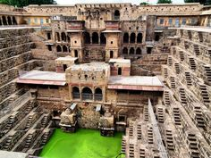 Chand Baori is a famous stepwell located in the village of Abhaneri near Jaipur in the Indian state of Rajasthan. It is situated opposite of the Harshat Mata Temple and was constructed in the 9th century. Chand Baori consits of 3,500 narrow steps over 13 storeys. It extends approximately 100 ft into the ground