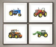 Here is a colorful set all four tractors. These poppy 8x10 prints are made on sturdy archival matte paper, they fit standard frames and mats, and they add a light painterly whimsy to your decor. - 4 prints - all tractors! - from my mix-and-match classic transportation prints! - Great
