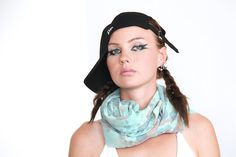 Hand dyed and painted cotton scarf  mint blue coral by Vietto, $65.00