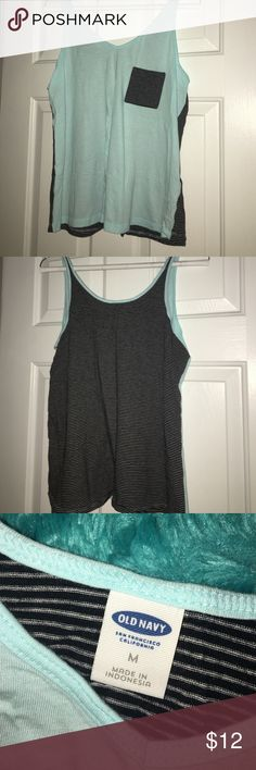 Old Navy Striped Mint Workout Tank This is a flowy work out Tee from Old Navy! Only worn once! Practically new. Old Navy Tops Muscle Tees