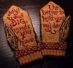 """DIY Knit Little Red Riding Hood Mittens or """"Little Red Cap Mittens"""" by Beth Hahn. The pattern is only $1 through Ravelry. I would only knit these for myself or someone really special to me who would appreciate them. From Beth Hahn: """" Little Red Cap..."""