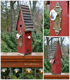 Rebecca's Bird Gardens: Custom Birdhouse, antique hardware, antique doorknob ♥