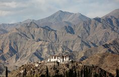 Stakna monastery catches the evening light near Leh, the largest town in the region of Ladakh, nestled high in the Indian Himalayas, on September 27, 2016.