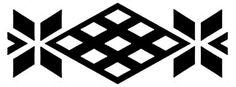 Diseño mapuche. El dibujo con forma de diamantes representa una pequeña tinaja o jarrón de greda. En el extremo del diamante mayor está una figura que simboliza plantas. Gentileza Fundación Chol Chol, Chile. - Guardas aborígenes