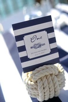 "Another option for table numbers or other labels--maybe even favors? ""Thank you for helping us tie the knot!"" sailors knot wedding table number  Inspiration and Ideas: Nautical"