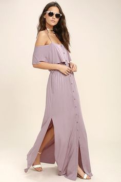An unforgettable moment waits for you in the Life's Wonders Mauve Off-the-Shoulder Maxi Dress! From adjustable spaghetti straps, lightweight woven fabric falls to a fluttering off-the-shoulder flounce, and button-up bodice with tying sash belt. Maxi skirt has hidden side seam pockets, and twin side slits.