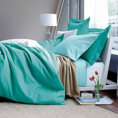 want this in Coral! Company Cotton® Solid Duvet Cover / Comforter Cover | The Company Store