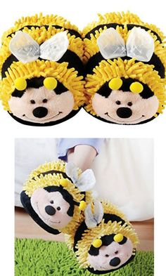 Super Cute! Bumble bee slippers #ad