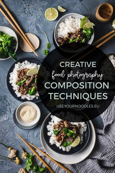 Creative food photography composition techniques - Use Your Noodles Flat Lay Photography, Food Photography Styling, Food Styling, Photography Backdrops, Photography Business, Portrait Photography, Photography Hashtags, Photography Settings, Gastronomia