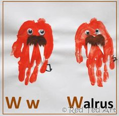 Handprint Walrus - going to get the kids to do this for their papa's 60th birthday card
