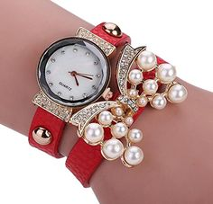 Pretty Women Girls Diamond Charm Wrist Watch Twine Wrap Leather Band Fashion Pearl Butterfly Bracelet Watch Red * Learn more by visiting the image link.