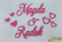 Pracownia Dekoracji ARQ - DECOR - Magda & Radek, Imiona Nowożeńców , Pary Młodej (NA ZAMÓWIENIE) nr 110 Dekoracje Ślubne