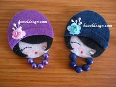 kokeshi laleczka broszka na Stylowi.Little lady felt broochesso cute! have to try with fimo! Felt Diy, Felt Crafts, Fabric Crafts, Sewing Crafts, Diy And Crafts, Sewing Projects, Crafts For Kids, Craft Projects, Felt Projects