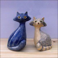 Two more cats. Hand modelled ceramic cats, made in white clay,and fired three times to If you like my cats maybe you'd like to see more in my website gallery My ceramic animals. Pottery Animals, Ceramic Animals, Clay Animals, Ceramic Art, Sculptures Céramiques, Sculpture Clay, Clay Cats, Cat Crafts, Cat Art
