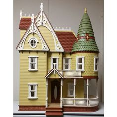 Pretty Victorian Dollhouse kit with a special turret and a deep round porch. Wooden Dollhouse Kits, Dollhouse Design, Diy Dollhouse, Dollhouse Miniatures, Bookshelf Dollhouse, Dollhouse Melanie, Homemade Dollhouse, Victorian Dolls, Victorian Dollhouse