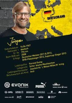 Rückseite der Autogrammkarte von Jürgen Klopp , Trainer von Borussia Dortmund zur Saison 2014/2015