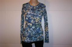 SWEET PEA Shirt Top Sz XL Blue Beige Floral Nylon Mesh Stretch Long Sleeves #SweetPea #KnitTop #Casual