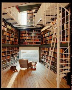 Private library designed by architecture firm Ilai, photography by Lukas Wassmann. I sure wouldn't mind having a private library in my home. Future House, My House, Ideal House, Dream Library, Beautiful Library, Future Library, Library Room, Library In Home, Library Ladder