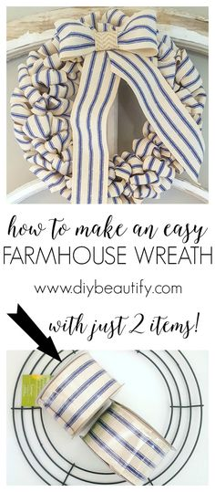 How to make a burlap wreath: Want to make a burlap wreath? Check out this easy to use tutorial showing you how to make a burlap wreath in less than 10 minutes. All you need is a wreath frame, feet of burlap ribbon and some wire. Wreath Crafts, Diy Wreath, Mesh Wreaths, Burlap Wreaths, Wreath Ideas, Wreath Making, Tulle Wreath, Floral Wreaths, Yarn Wreaths