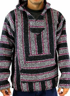 Large Mexican Baja Hippie Surfer Pullover Hooded Sweater HotPink//Dark Gray//White