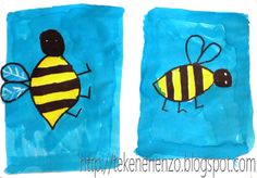 You need: white crayon markers liquid watercolour paint brush Fold the sheet of paper in half. Draw on both halves a bee. Bee Painting, Painting For Kids, Drawing For Kids, Artists For Kids, Art For Kids, Bee Crafts, Arts And Crafts, Happy Monster, Liquid Watercolor