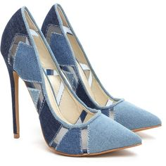 Perfect Patch Pointy Denim Pumps ❤ liked on Polyvore featuring shoes, pumps, pointed shoes, pointy-toe pumps, pointed-toe pumps, denim pumps and denim shoes