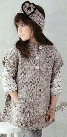 Knitting poncho for kids baby sweaters 29 ideas Baby Knitting Patterns, Knitting For Kids, Crochet For Kids, Free Knitting, Knitting Ideas, Knitting Needles, Crochet Ideas, Crochet Baby Poncho, Knitted Poncho