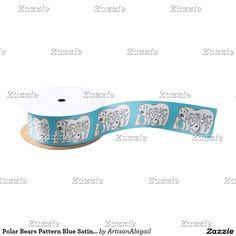Polar Bears Pattern Blue Satin Ribbon; ArtisanAbigail at Zazzle