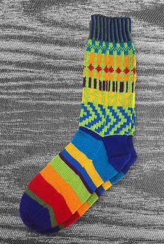 Socks  Unique  Hand knit  Multi color  Original design  by LizSox, $57.00