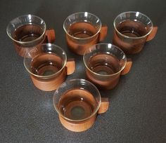 Schott Mainz Jenaer glass tea cups with teak holders, set of 6, mid century design 60s #midcentury