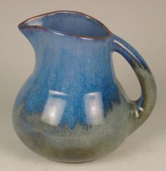 Shearwater Pottery Pitcher - PRE Katrina - c.1970 - Blue Rain Glaze - Gorgeous Colors