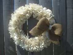 Simplicity Linen and Burlap  Rag Wreath Ivory by RagWreathBoutique, $50.00