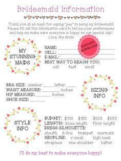"PRINTABLE Bridesmaid Information Sheet - Bridal Party Planning Sheet - 8.5x11"" Printable"