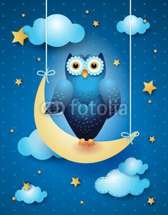 #Owl and moon  #vector #stockimage