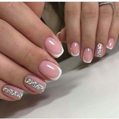 What Christmas manicure to choose for a festive mood - My Nails Manicure, Gel Nails, Acrylic Nails, Pink Nails, Neutral Nail Art, Nagellack Design, Wedding Nails Design, French Tip Nails, Bridal Nails